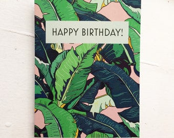 Happy Birthday • Birthday Cards • Banana Leaf Design • Blank Inside for Your Own Message • Includes Envelope