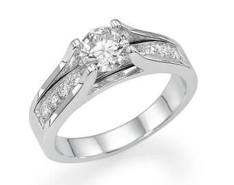 Engagement Ring, Diamond Engagement ring, Diamond Ring, Solitaire Ring, Pave Diamond Ring, Gold and Diamonds Ring, Diamonds Ring, White Gold