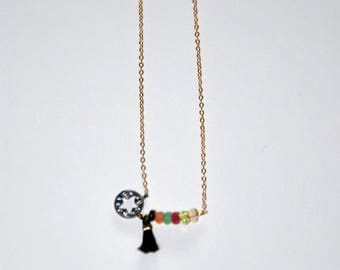 Gold-plated necklace, faceted multi stones, gun silver mini star, black tassel
