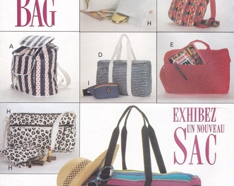 FREE US SHIP Simplicity  6678 Fabric Sac Tote Bag Luggage Purse Fabric Sewing Pattern Backpack Wallet Cosmetic Makeup zipper case Uncut 1993