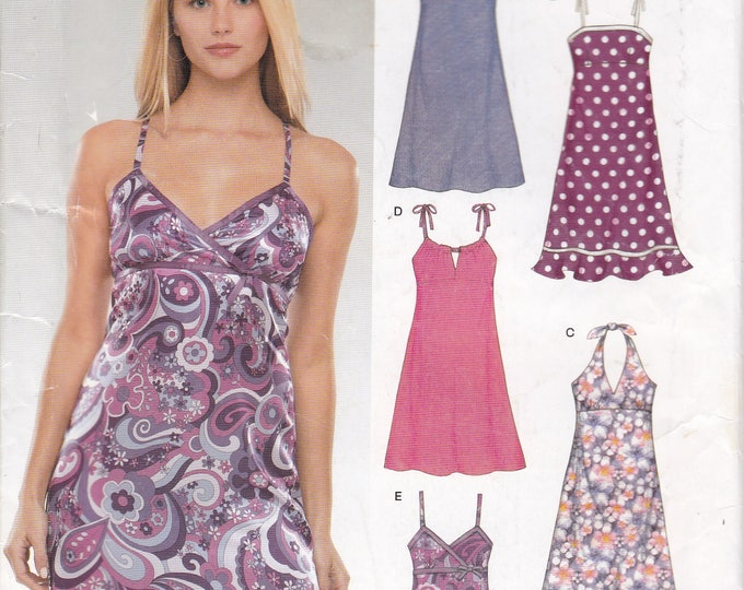 FREE US SHIP New Look 6369 Junior Size 3/4 5/6 7/8 9/10 11/12 13/14 Summer Strapless Slip Halter Dress Uncut Factory Folded