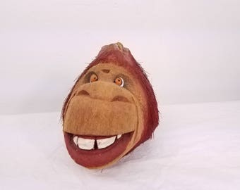 vintage folk art / Gorilla carved coconut head tiki wall hanging bar decor DAD