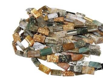 15 IN Strand 25x15 mm Ocean Jasper Rectangle Smooth Gemstone Beads (OCJ100103)
