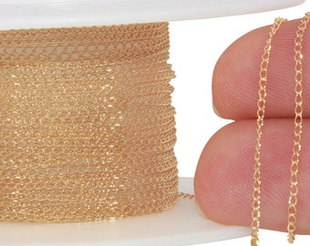 1 FT 1.1x2.1 mm 14K Gold Filled Curb Chain 30 Gauge (GF1020C) Price Per Foot