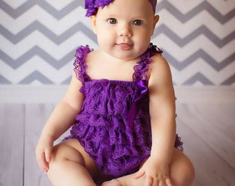 Baby Toddler Girls Lace Romper, Petti Romper, Newborn Romper, Baby Girls Outfit, Girls Birthday Outfit, Purple Lace Romper