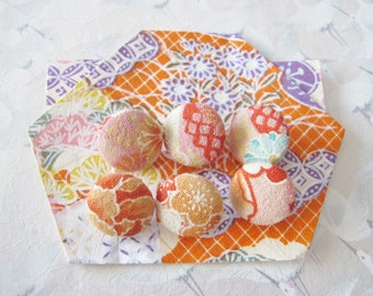 6 buttons in Japanese orange fabrics, cherry blossoms, diam 15 mm, haberdashery, sewing