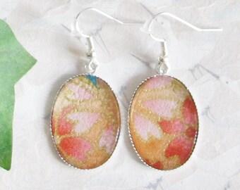 Earrings * sakura * * cherry blossom * orange, silver and cabochon