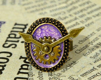 """The time of the sin"" adjustable Steampunk ring: pride"