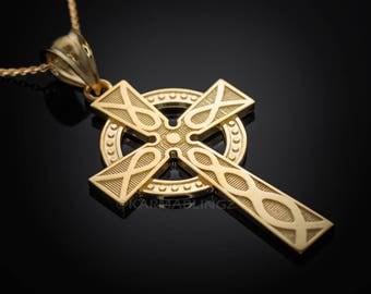 Gold Celtic Cross Pendant Necklace (10k, 14k, yellow, white, rose gold)