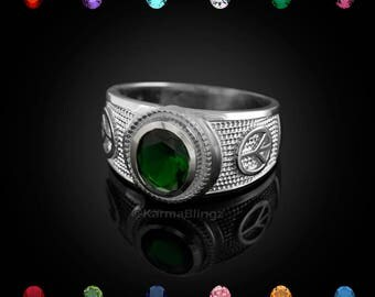 Sterling Silver Peace Sign Ring - Color CZ Birthstone Ring -Customizable Stone