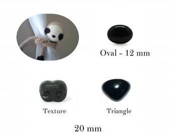 12 mm, 20 mm Black Safety Nose, Oval Nose, Triangle Animal Nose, Black Craft Nose, Black Nose, Black Plastic Animal Safety Noses