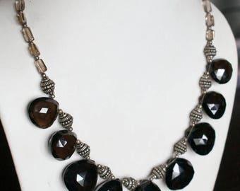 ON SALE Unique Smoky Topaz Silver Necklace