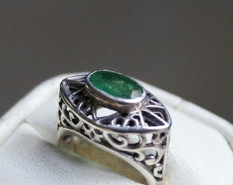 ON SALE Matchless Emerald Silver Ring