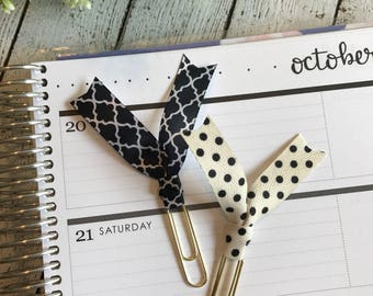 Black & White Ribbon Clip Set