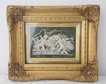 Vintage Framed Albast Relief Cherub Wall Decor, Wall Hanging, Ornate Gilded Shadow Box Frame, Bigg's & Sons