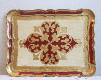 Vintage Italian Florentine Wooden Serving Tray, Red, White and Gold Decor