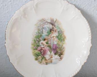 Set of Four Antique Porcelain Pastry Plates with Portret Decor, Women in Garden Decoration