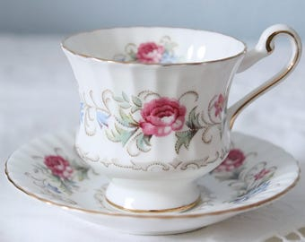Vintage Paragon Chatelaine Lady Size Cup and Saucer, Pink Roses and Blue Flower Decor, England