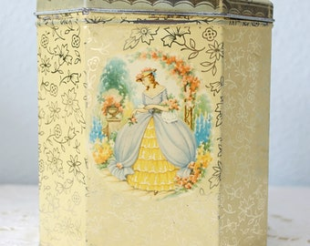 Lovely Vintage Chintz Biscuit Tin with Victorian Age Woman Decor, Crinoline Lady, England