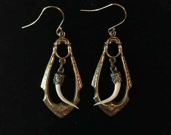 """Rattlesnake fang & oxidized brass drop earrings-gold filled French hook-Eastern diamondback rattlesnake fangs-snake fang earrings-nouveau-2"""""""