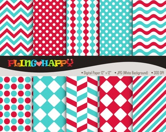 70% OFF Red And Turquoise Digital Papers, Chevron/Polka Dot/Wave/Stripe Pattern Graphics, Personal & Small Commercial Use, Instant Download