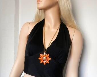 Original 1960's Large Orange Flower pendant