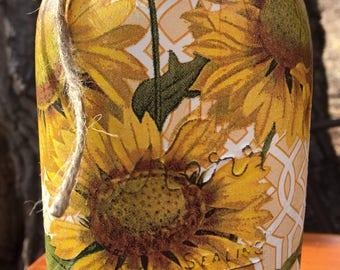 Mason Jar Sunflower Decor-Decoupaged Mason Jar-Sunflowers -Painted Mason Jar-Hand Painted Mason Jar-Home Decor- Home Decor-flower Jar