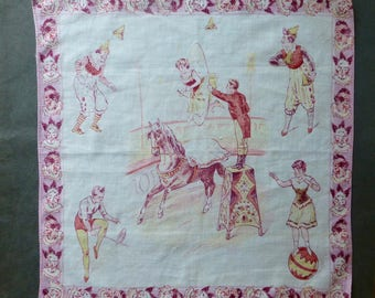 Vintage Cotton Handkerchief with Circus Print 34cm Sq.