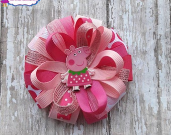 Peppa the Pig Hair Bows,Peppa Pig Bows,Pink Peppa Pig Bows,Peppa Pig Hair Bows,Peppa The Pig.