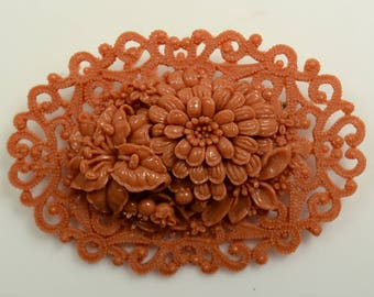 Carved Lacy Detailed Celluloid Flower Pin