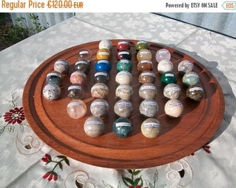ON SALE Solitaire//Solitaire Game//French Vintage//Semi-Precious Stone Marbles on Hardwood Playing Board//Found And Flogged