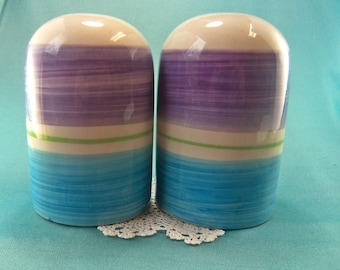 Vintage Stripe Salt and Pepper Shakers Blue and Purple Large Hand Painted Ceramic Modern Design