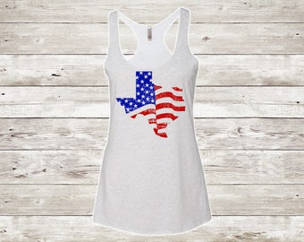 Texas Pride Racerback Tank Top,American Flag Tank Top,4th of July Shirt,Texas,Women's Tank Top,Patriotic Shirts,Summer, Independence Day