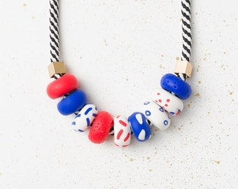 Statement necklace, Geometric necklace, Beaded necklace, Modern chunky necklace, Colorful necklace, Blue Red Necklace, Polymer Clay jewelry