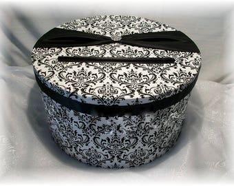Madison Damask Wedding Card Box in Black and White, Damask Card Box, Damask Wedding Money Box