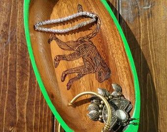 Hominid Trinket Tray, Monkey Jewelry Dish, Monkey Trinket Tray, Green Trinket Tray, Green Jewelry Dish, Wood Burned Jewelry Dish, Wood Tray