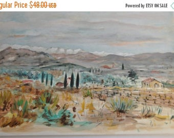 25% Sale Antique French Painting, Oil and Watercolor Landscape, Vintage French Country Decor Art, Wall Hanging, Mountains Provence, Made in