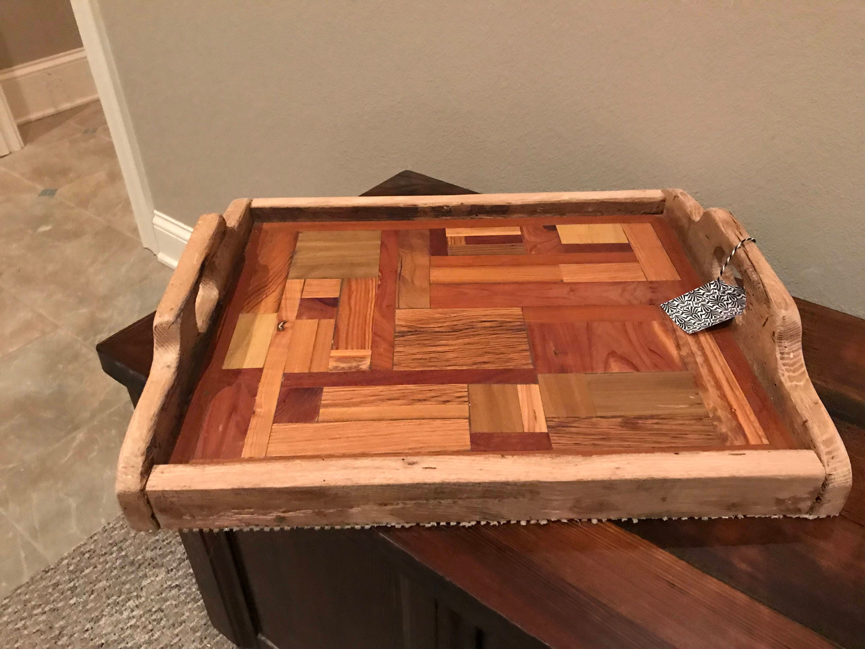 Square Decorative Wood Serving Tray Made from reclaimed mixed