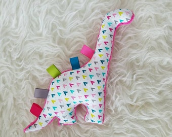 Dino Plush Tag Rattle Baby Toy |  Colorful Dash + Hot Pink Minky