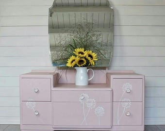 NOW SOLD *** Painted Vintage Dressing Table, Dressing Table, Dresser, Pink Dressing Table, Girls Bedroom Furniture,