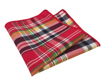 Red, Navy Blue, Green and Yellow Plaid Pocket Square