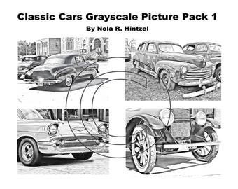 Classic Cars Grayscale Picture Pack 1 Coloring Book PDF Digital Download Vintage Automobiles