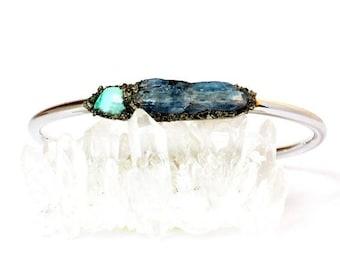 Turquoise Cuff Bracelet, Boho Turquoise Jewelry, Raw Turquoise Jewelry, Genuine Turquoise Jewelry, December Birthstone, Kyanite Bracelet