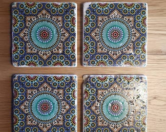Rustic stone coasters Moroccan inspired pattern