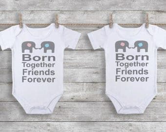 Twin Baby Onesie Set, Baby Shower Gift, Twin Onesies, Twin Outfits