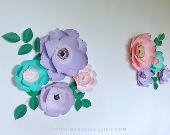 Paper flower lavender wall decor lilac paper flowers lavender nursery decor playroom lilac flower wall decor lavender baby shower decor