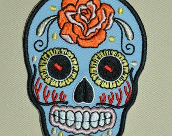 skull embroidered patch Blue 10 cm