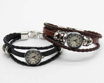 Watch black or brown with silver watch clarify