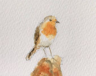 Bird ORIGINAL Miniature Watercolour painting, ACEO, Wildlife, Robin,  For him, For her, Home Decor, Wall Art, Gift Idea, Free shipping