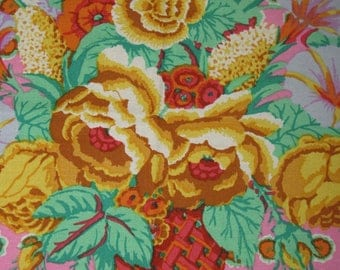 Kaffe Fassett Flower Basket in Pink; GP-48; woven cotton fabric; 1/2 yard